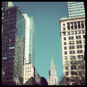 the Chrysler Building from Bryant Park