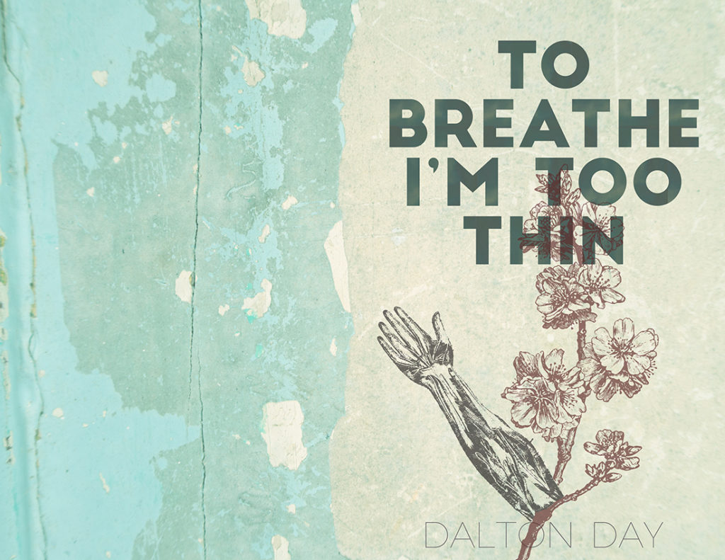 From Hyacinth Girl Press: To Breathe I'm Too Thin by Dalton Day, cover design by Sarah Reck